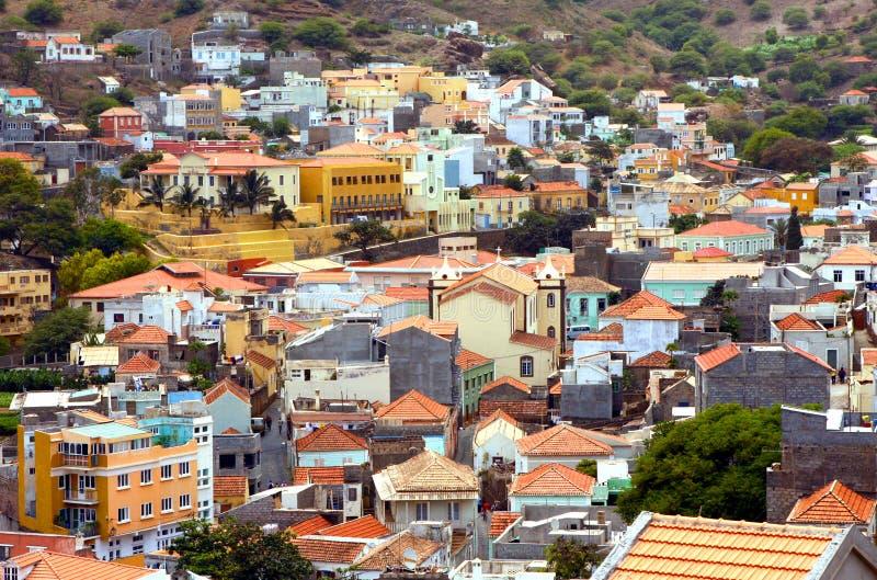 Ribeira Brava in Sao Nicolau in Cape Verde. The city of Ribeira Brava in the island of Sao Nicolau in the archipelago of Cape Verde stock photos