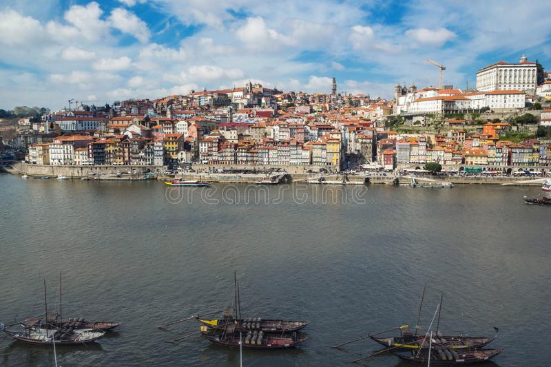 Ribeira, Old town of Porto and Douro River, Portugal royalty free stock image