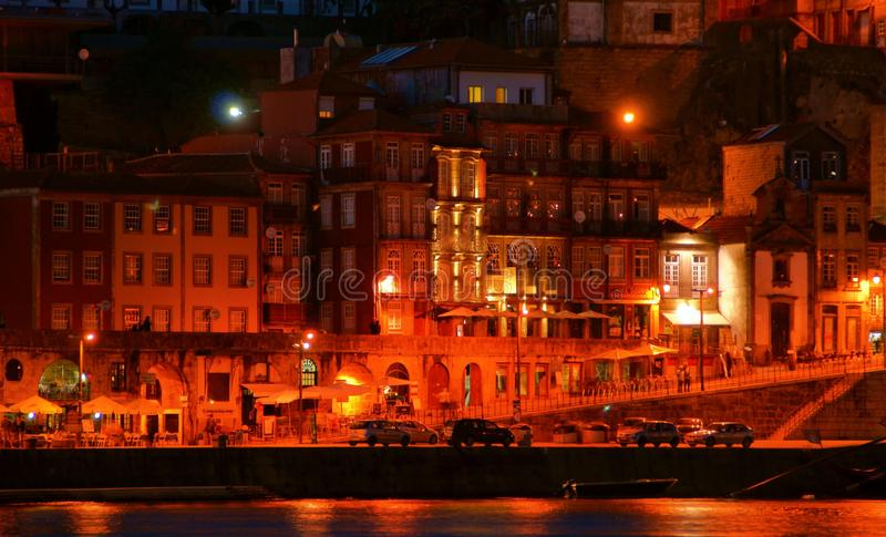 Ribeira view at night in Oporto royalty free stock image