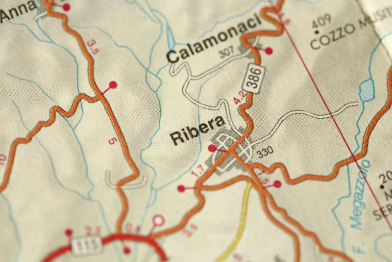 Ribera kaart De Eilanden Sicilië, Italië stock afbeeldingen
