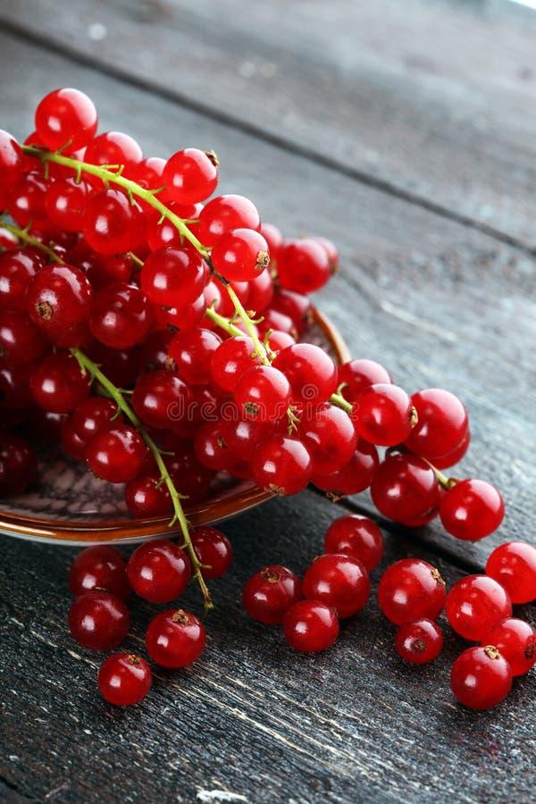 Ribes rosso fresco sulla tavola rustica leggera Frutta sana di estate immagine stock libera da diritti