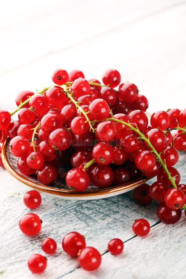 Ribes rosso fresco sulla tavola rustica leggera Frutta sana di estate fotografia stock