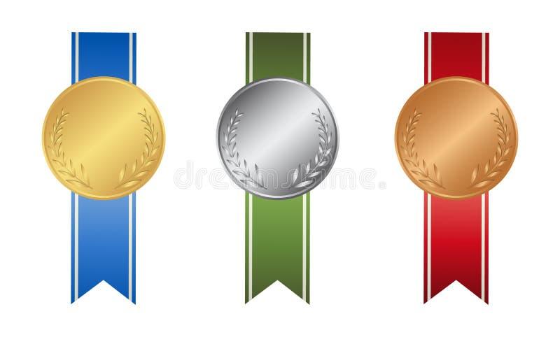 Download Ribon-Medaillen Eingestellt Vektor Abbildung - Illustration von ikone, silber: 90226647