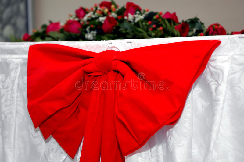 Ribon rosso Wedding fotografie stock