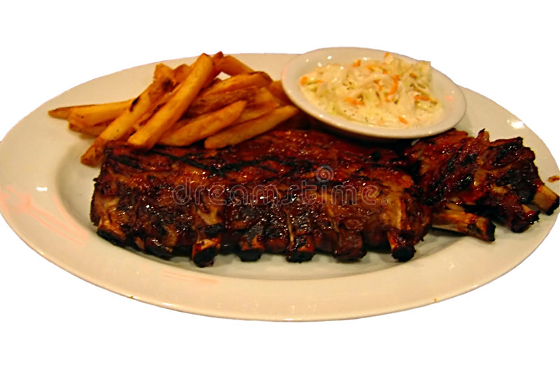 Ribs, fries and coleslaw stock photo