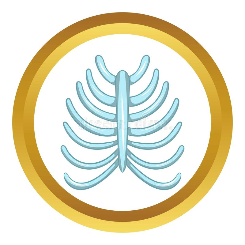 Ribs icon. In golden circle, cartoon style isolated on white background royalty free illustration