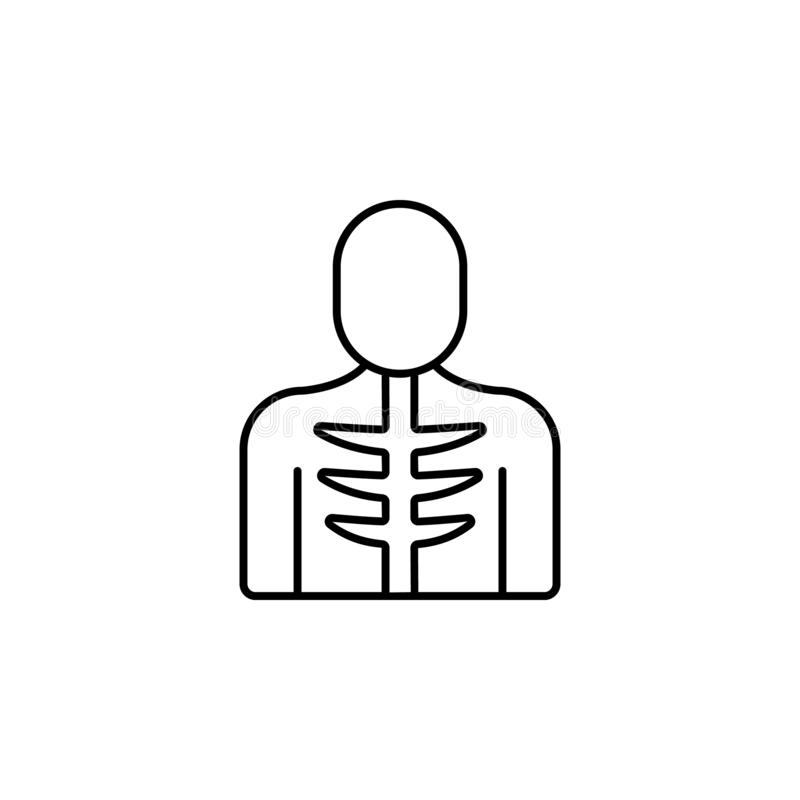 Ribs, man, bone icon. Simple thin line, outline  of Bone injury icons for UI and UX, website or mobile application. On white background stock illustration