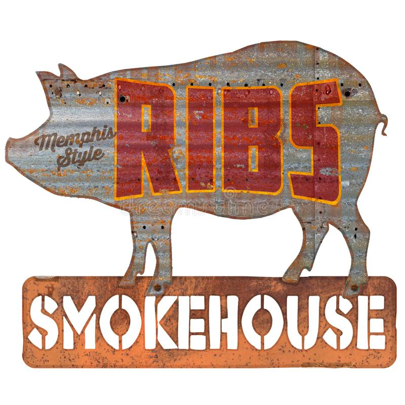 Ribs Sign Grunge royalty free illustration