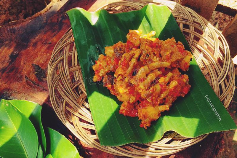 Rica-Rica Ayam is a food menu that has a spicy, savory and sweet taste with the aroma of spices stock image