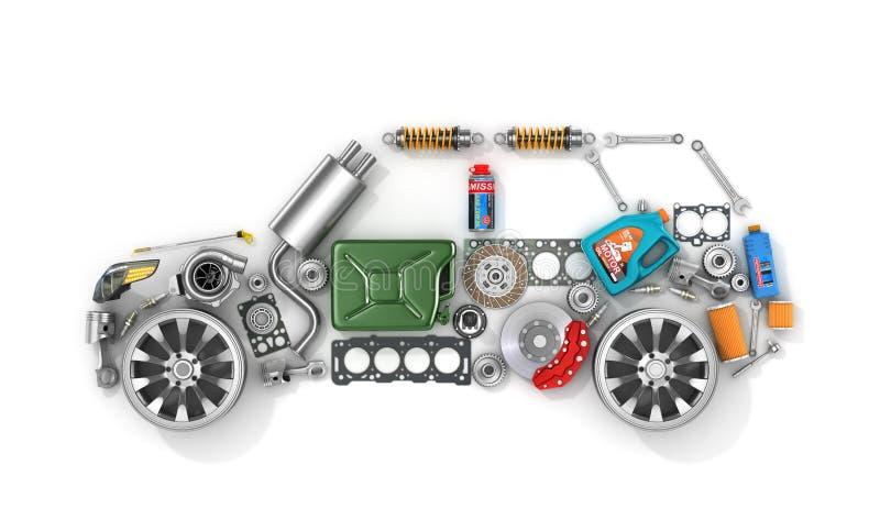 Ricambi auto nella forma di automobile royalty illustrazione gratis