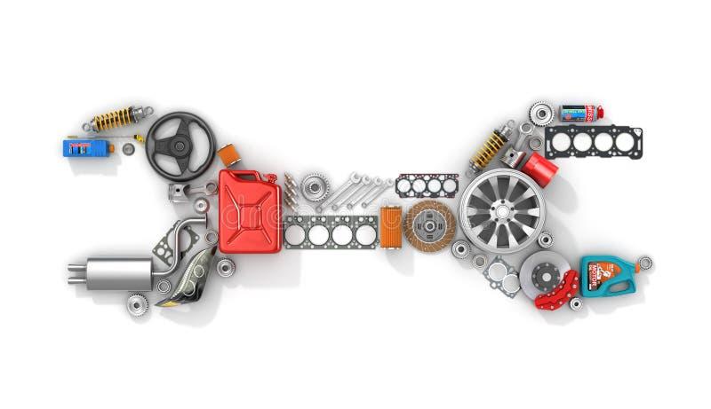 Ricambi auto nella forma di chiave dell'automobile illustrazione vettoriale