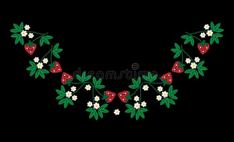 Ricamo con la fragola rossa ed il fiore bianco con la foglia verde illustrazione vettoriale