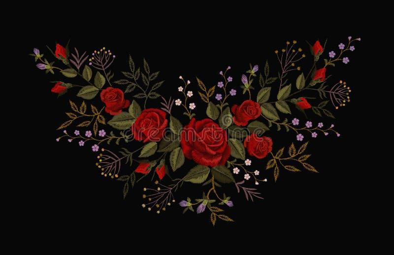 Ricamo della rosa rossa su fondo nero Collana d'imitazione della toppa della decorazione di modo del punto di raso Fiore di strut illustrazione di stock