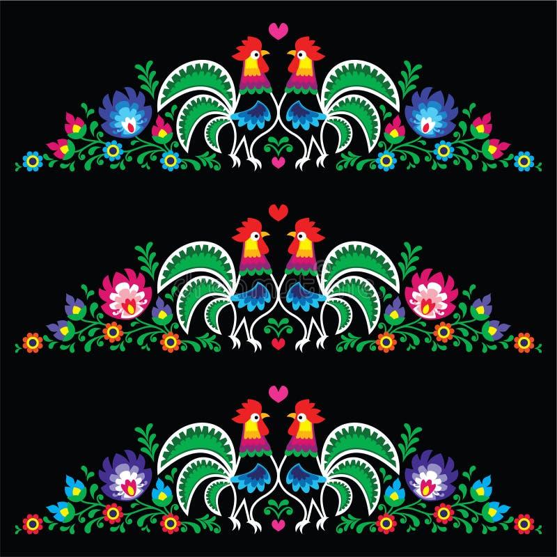 Ricamo polacco di arte di piega con i galli illustrazione di stock