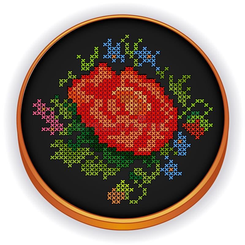 Ricamo, punto d'annata dell'incrocio del mazzo del fiore, W royalty illustrazione gratis