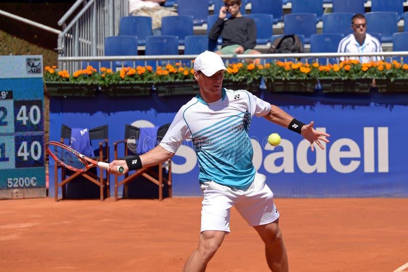 Ricardas Berankis (теннисист от Литвы) играет на ATP Барселоне стоковые изображения