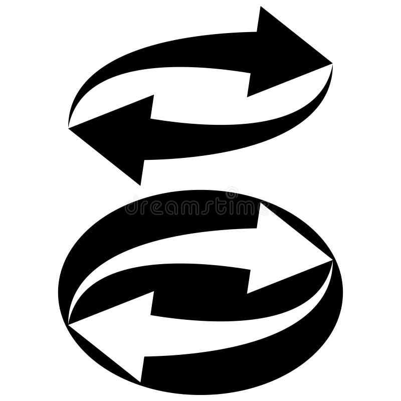 Ricarica dell'aggiornamento di simbolo del segno, frecce circolari di vettore nel cerchio, il concetto di riciclaggio e rinnovame royalty illustrazione gratis