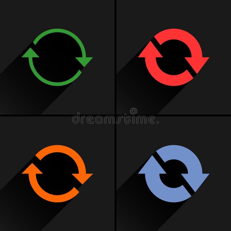 Ricarica della freccia di colore, rotazione, risistemazione, icona di ripetizione illustrazione di stock
