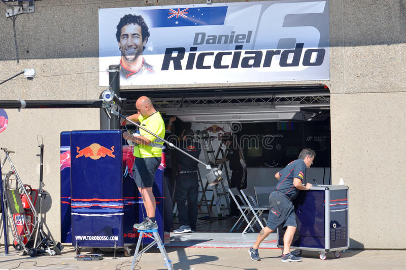 ricciardo s κοιλωμάτων του Μόντρεαλ γκαράζ του Ντάνιελ f1 στοκ εικόνα με δικαίωμα ελεύθερης χρήσης