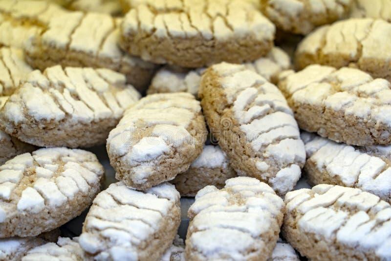 Ricciarelli Tuscany cukierku torta Italy bożych narodzeń specjalności migdałowy szczegół obrazy stock