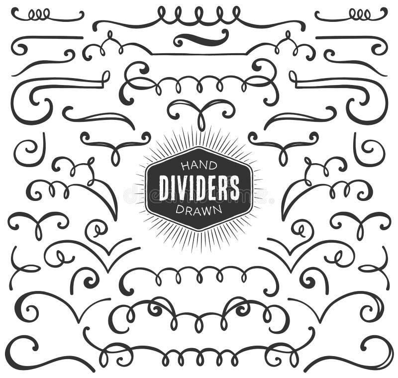 Riccioli decorativi disegnati a mano, turbinii, raccolta dei divisori illustrazione di stock