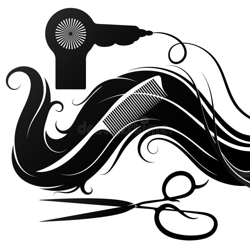 Riccioli dei capelli con il fon e le forbici illustrazione vettoriale