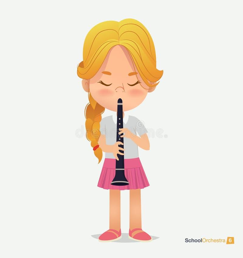 Ricciolo biondo della ragazza nel gioco rosa della gonna sulla tromba royalty illustrazione gratis