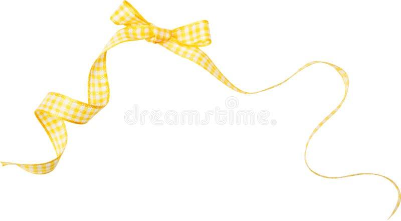 Ricciolo giallo del nastro del controllo isolato su fondo bianco fotografie stock