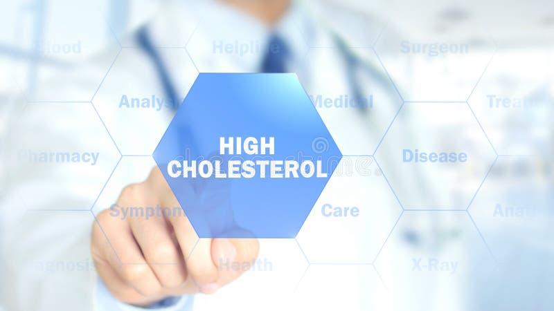 Ricco in colesterolo, medico che lavora all'interfaccia olografica, grafici di moto immagine stock