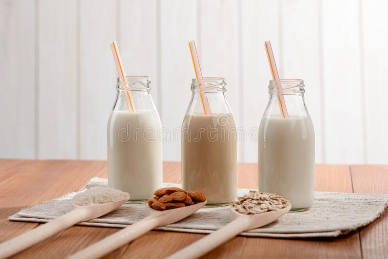 Rice, almond and oat milk royalty free stock photos