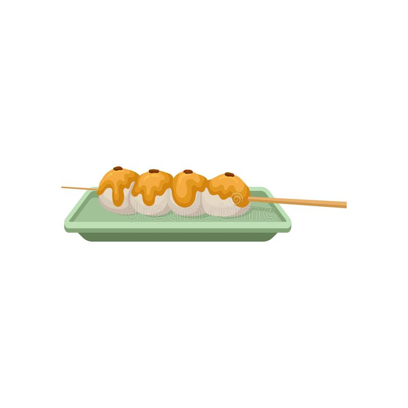 Rice balls topped with sweet sauce. Traditional Japanese dessert on wooden stick. Flat vector for recipe book, promo royalty free illustration