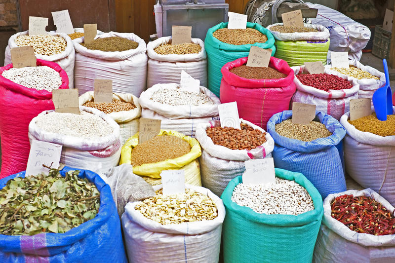Rice, beans, dried fruits on a market royalty free stock photos