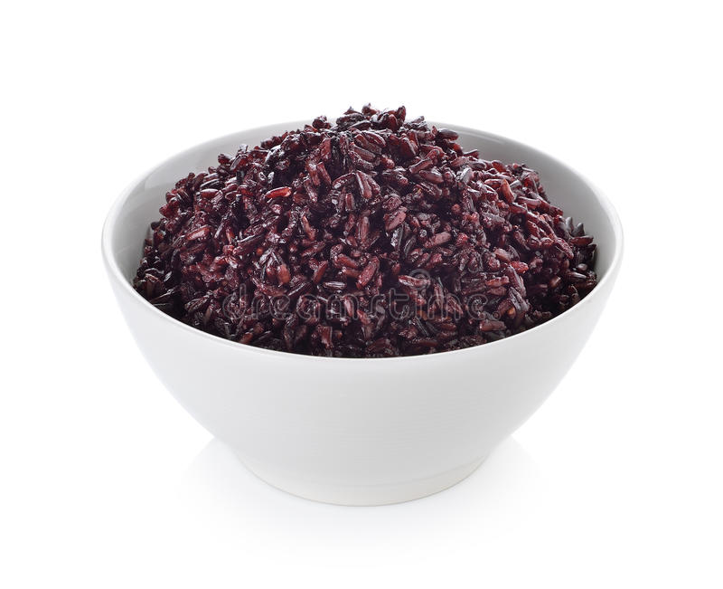 Rice berry in bowl. On white background stock photo