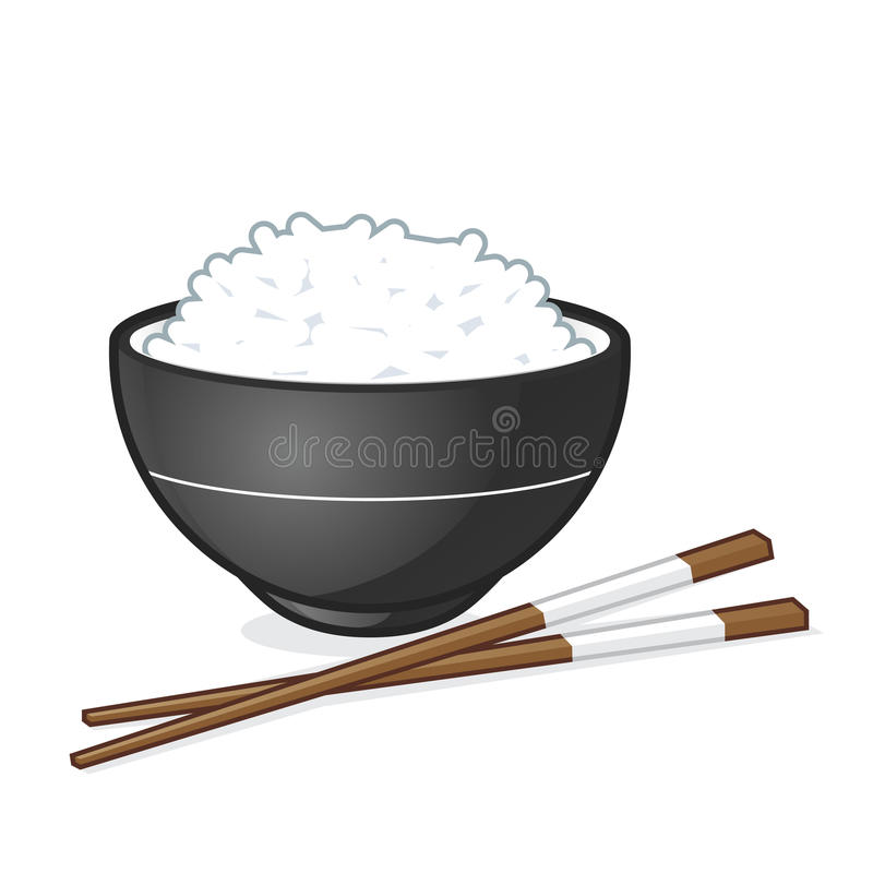 Rice bowl. Vector cartoon clipart picture of a rice bowl royalty free illustration