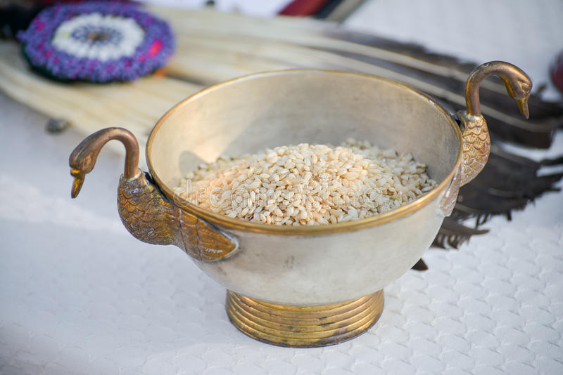 Rice In Brass Bowl With Geese Stock Photo