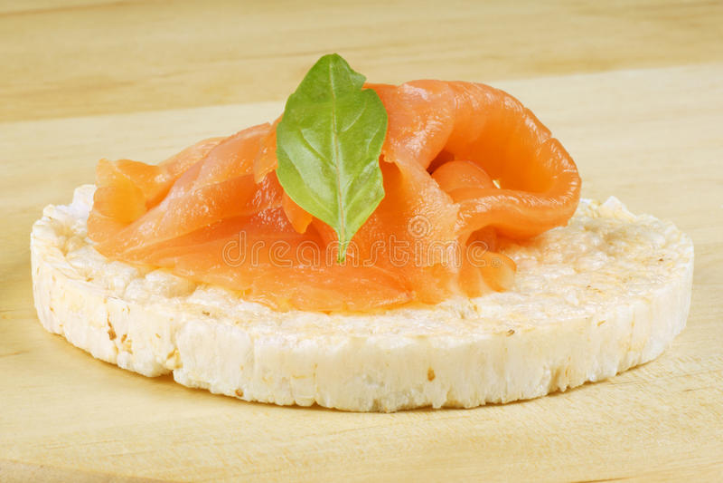 Rice cake with salmon stock image