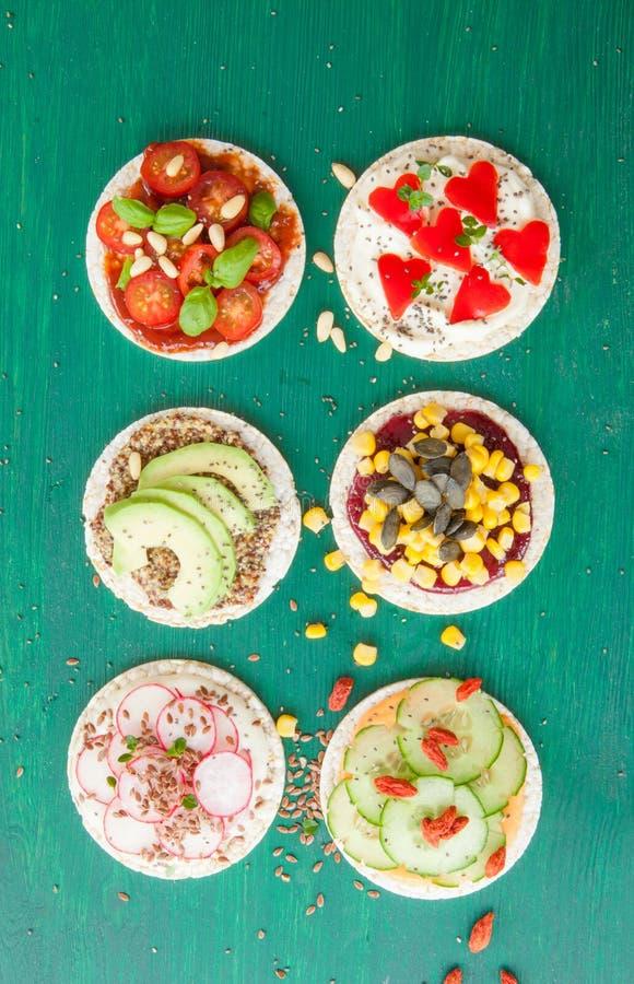 Rice cakes with fresh veggies royalty free stock photo