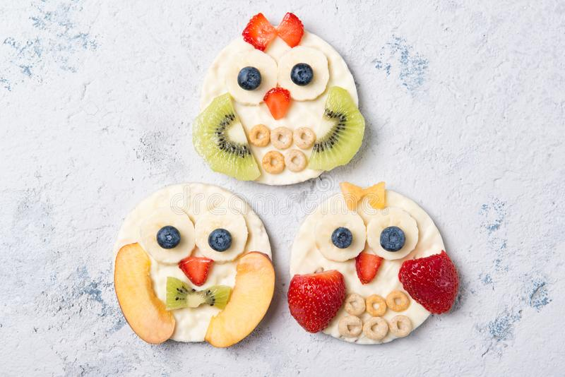 Rice cakes with yoghurt and fresh fruits in a shapes of cute owls, meal for kids idea, top view. Rice cakes with yoghurt and fresh sliced fruits in a shapes of stock photography