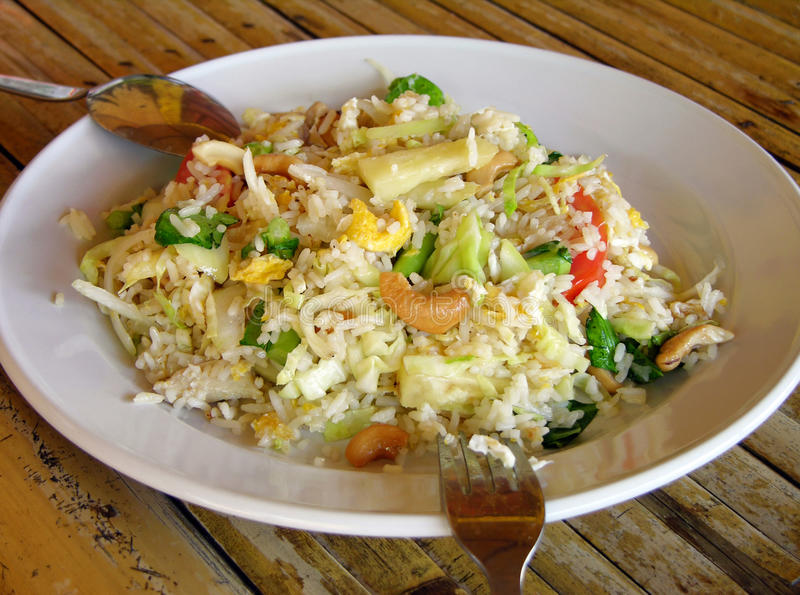 Rice with cashew and pineapple stock image