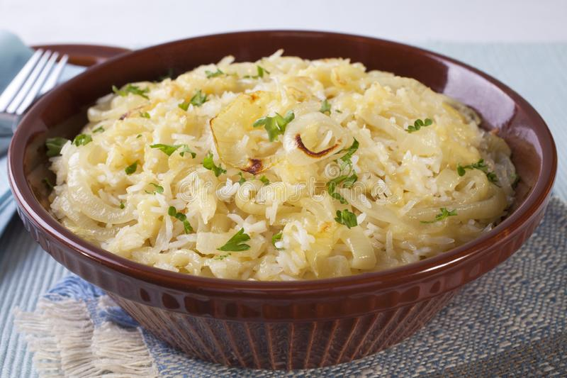 Rice Casserole with Cheese and Onion stock photo