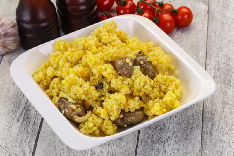 Rice with Chicken hearts royalty free stock photo