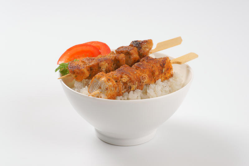Rice and chicken skewer royalty free stock image