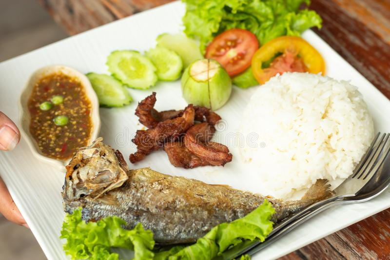 Rice, chili sauce, fish and pork fried with vegetables on a whit stock image