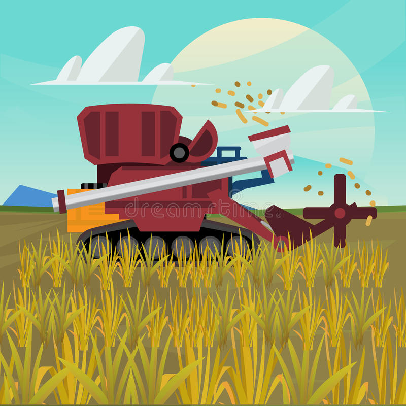 Rice combine harvester. farm - royalty free illustration