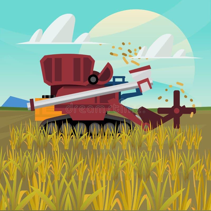 Rice combine harvester. farm -. Illustration royalty free illustration