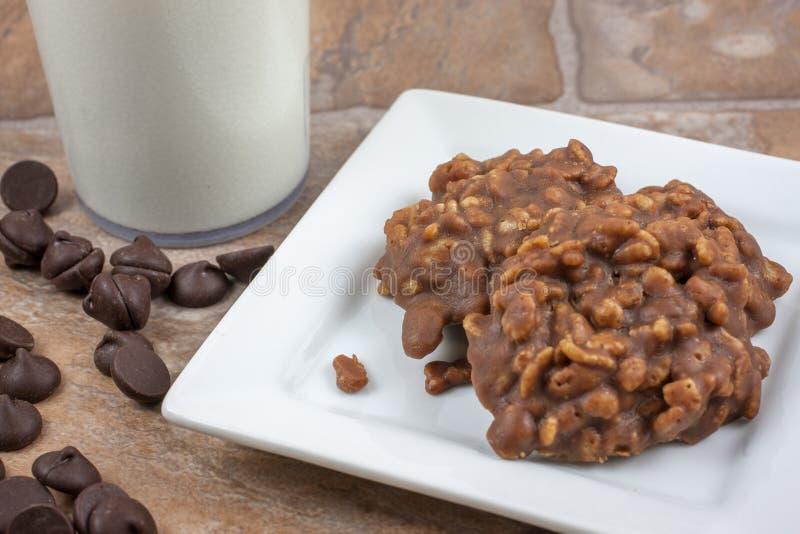 Rice Crispy No Bake Cookies. Chocolate and crispy rice no bake cookies royalty free stock photos