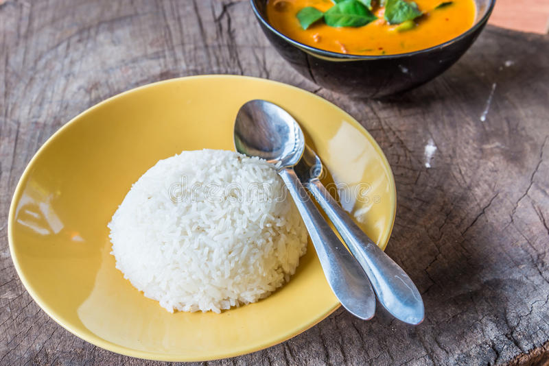 Rice and Delicious Thai panang curry royalty free stock image
