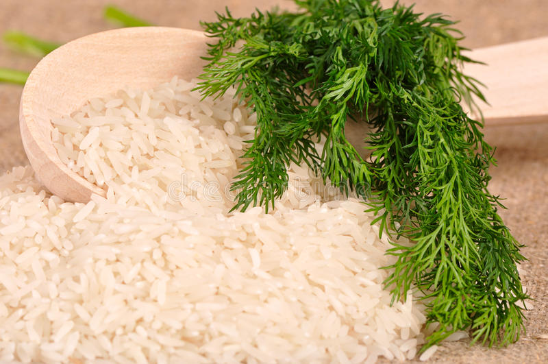 Rice with dill and spoon stock photos
