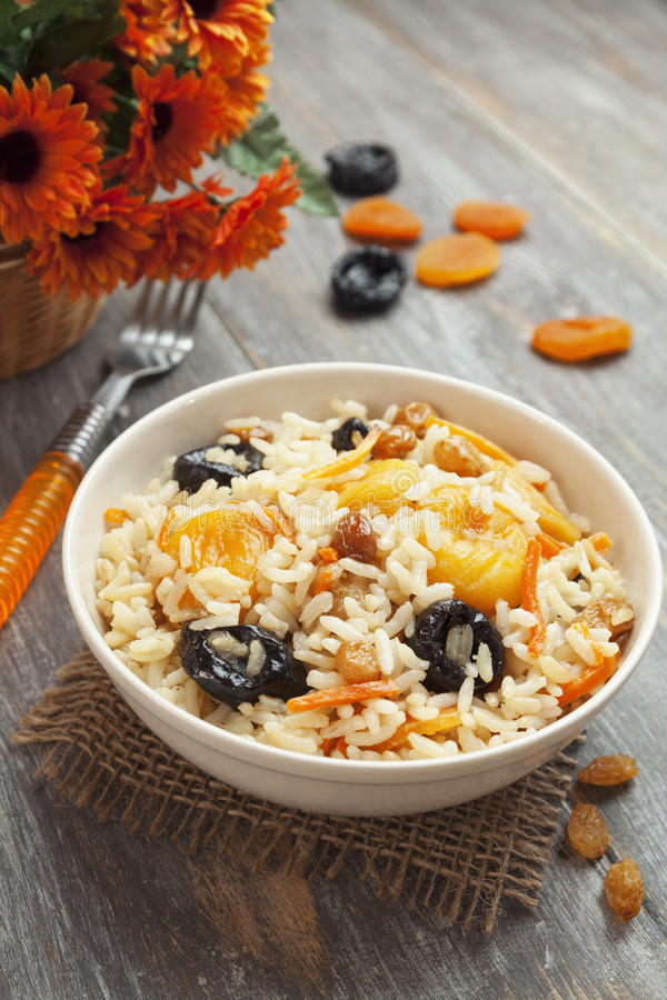 Download Rice with dried fruit stock photo. Image of pilaf, russian - 39502796