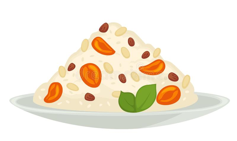 Rice with dried fruits vegetarian or vegan healthy meal on plate. Vegetarian or vegan healthy meal rice with dried fruits on plate vector isolated meal cereal stock illustration